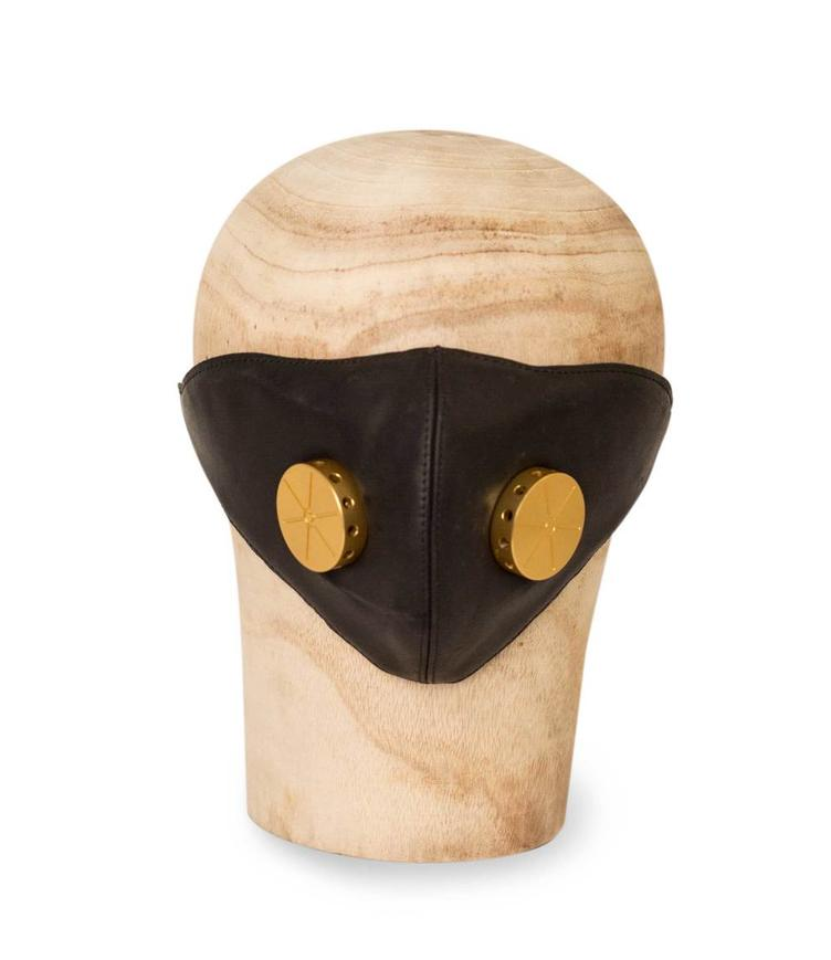 Leather Mask HANNIBAL black/toxic brass