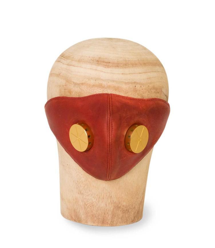 Ledermaske HANNIBAL red/toxic brass