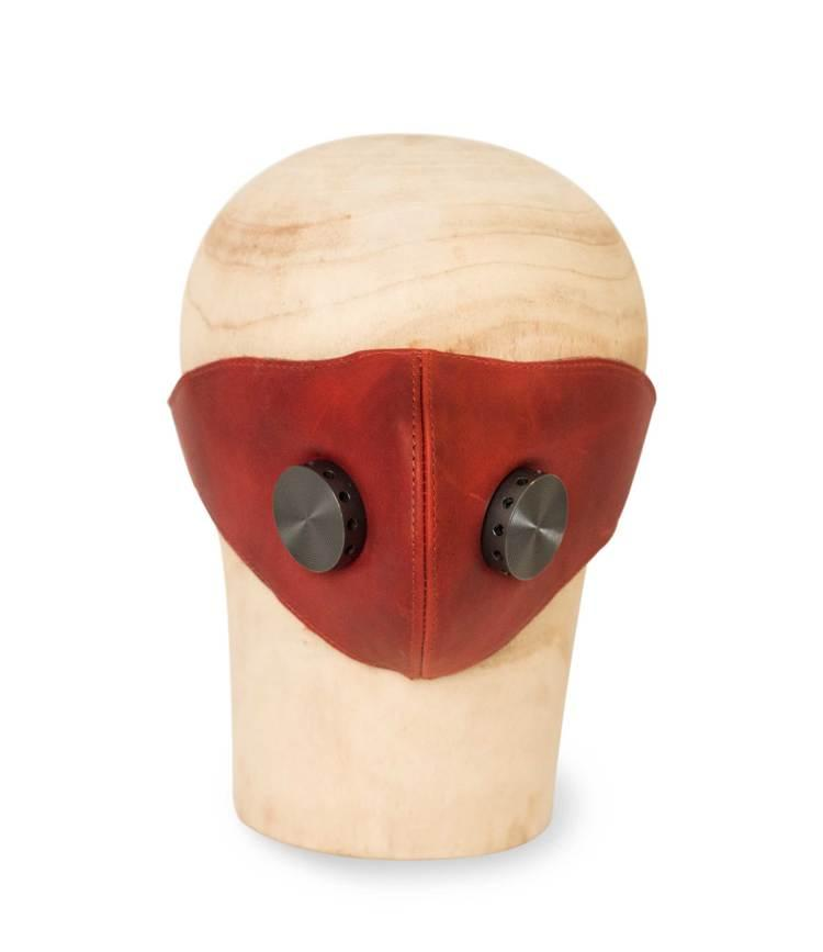 Leather Mask HANNIBAL red/hypo gun metal